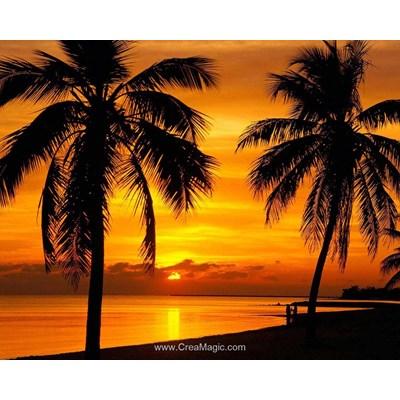 Kit broderie diamant palmiers au coucher du soleil - Diamond Painting