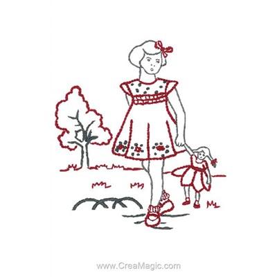 Broderie imprimée en kit petite fille avec sa poupée - Au Fil De L'Ange