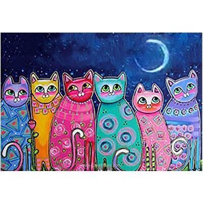 Broderie diamant chats déco au clair de lune de Wizardi