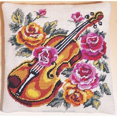 Coussin au demi point SEG le violon dans les roses