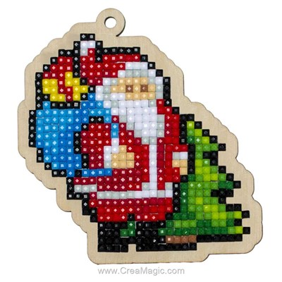 Broderie diamant santa with gifts - noël de Wizardi