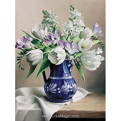Kit broderie diamant Diamond Painting white tulips