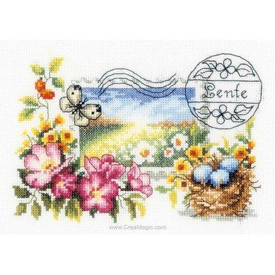 Vervaco point de croix à broder timbre printemps
