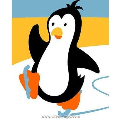 Kit canevas debutant pingouin à la patinoire - Margot