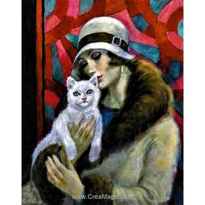 Kit broderie diamant Collection d'art femme au chat