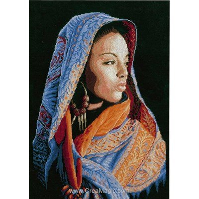 Kit broderie point de croix Lanarte femme africaine