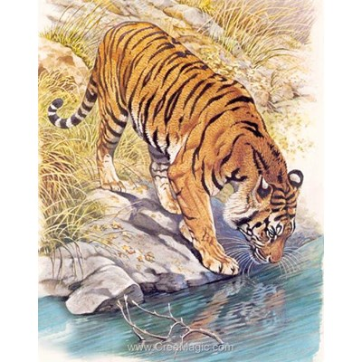 Broderie diamant tiger near the river - Diamond Painting