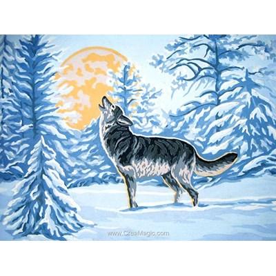 Canevas le cri du loup de la pleine lune de Collection d'art