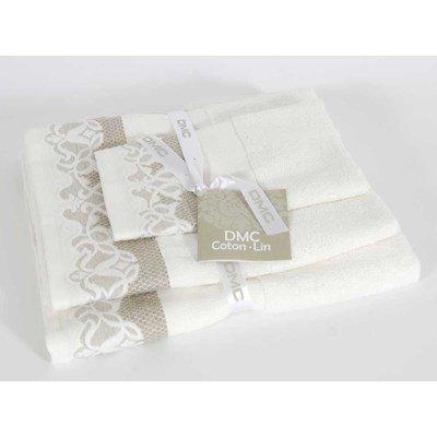 Lot de serviettes à broder harmonie (bain, toilette et invité) coton-lin 480 gr/m² DMC