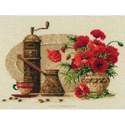 Café en rouge kit broderie de RIOLIS au point de croix