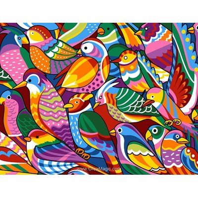 Colored birds canevas de Margot
