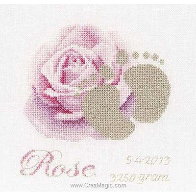 Kit broderie tableau prénom petit pas rose sur lin - Thea Gouverneur