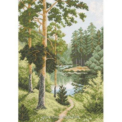 Kit broderie imprimée aida Collection d'art forêt de pins
