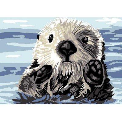 Luc Création canevas marmotte dans l'eau