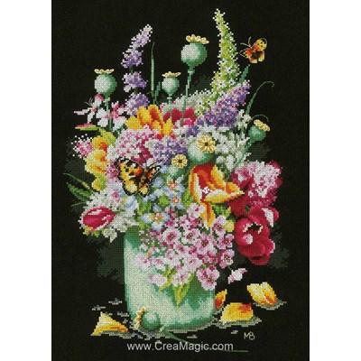 Bouquet coloré kit à broder au point de croix - Lanarte