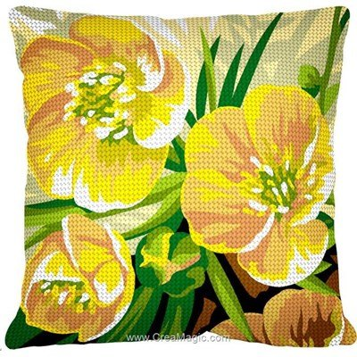 Coussin Margot au demi point 3 boutons d'or