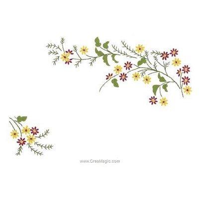 Napperon à broder générosité fleurie aux points de broderie imprimée - Luc Création
