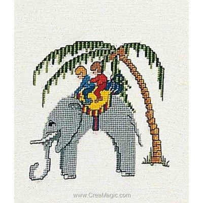 Kit à broder de Thea Gouverneur au point de croix elephant sur lin
