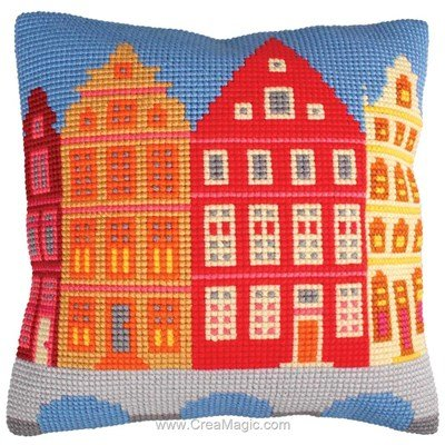Kit coussin la ville de Collection d'art au point de croix