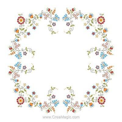 Nappe floral art en broderie traditionnelle - Montée dentelle de BrodArt