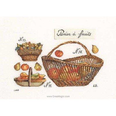 Panier de pommes sur lin kit broderie de Thea Gouverneur au point de croix