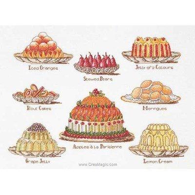 Kit tableau Thea Gouverneur point de croix les desserts sur lin