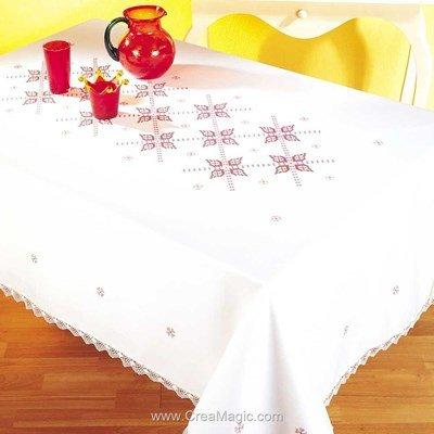 Serviette de table au point de croix imprimé roseline de Margot Broderie