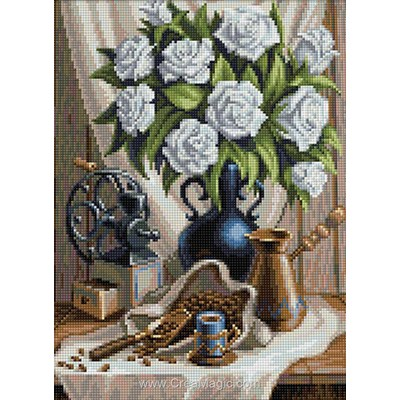 Broderie diamant white roses and coffee de Diamond Painting