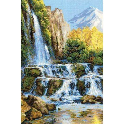 Broderie modele point de croix RIOLIS de cascade en cascade