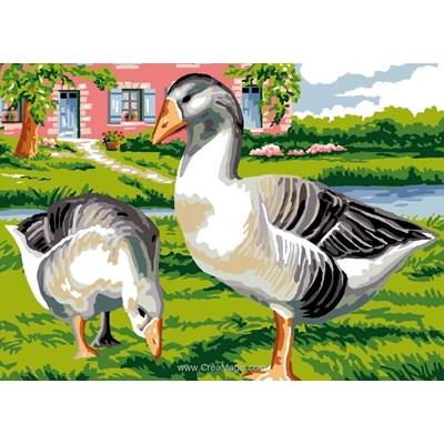 Les oies près de l'étang canevas - Luc Création