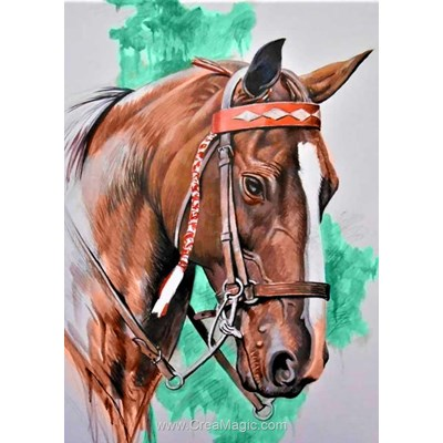 Broderie diamant noble cheval - Collection d'art