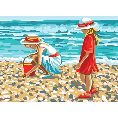 Fillettes sur la plage canevas - Collection d'art