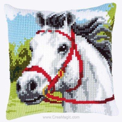 Coussin point de croix Vervaco cheval blanc