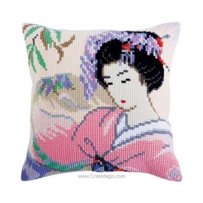 Coussin au point de croix douce japonaise de Collection d'art