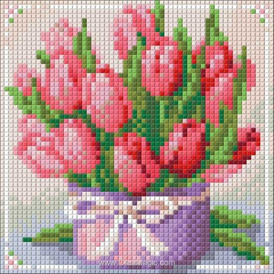 Kit broderie diamant Diamond Painting tulips present