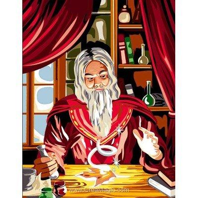 Le magicien rouge canevas chez Luc Création