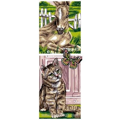Luc Création canevas le cheval et le chat