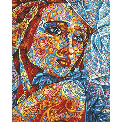 Kit broderie diamant stained glass portrait - Diamond Painting