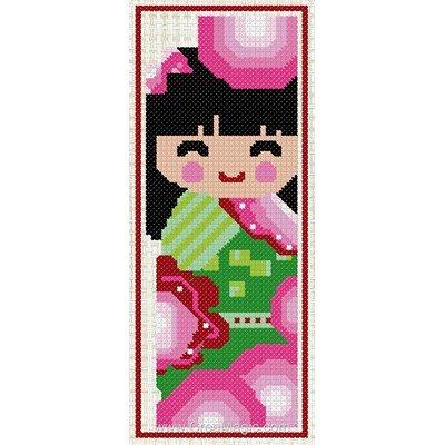 Marque-page à broder sourire de kokeshi de Luc Création
