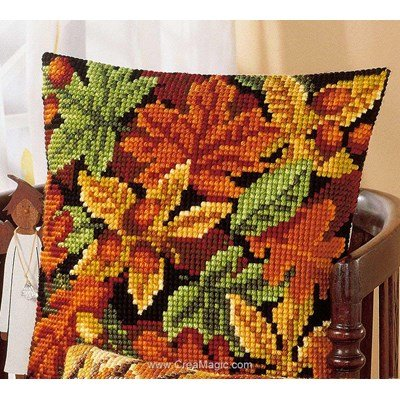Kit coussin point de croix feuilles d'automne et glands - Vervaco