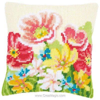 Coussin point de croix champs de fleurs d' été - Vervaco