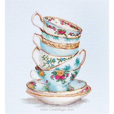 Broderie de Luca-S au point de croix tasses à thé porcelaine dorée turquoise