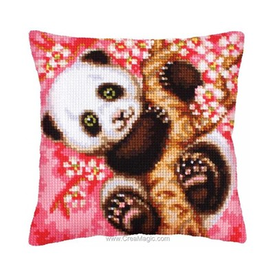 Coussin panda, c'est le printemps! au point de croix - Collection d'art