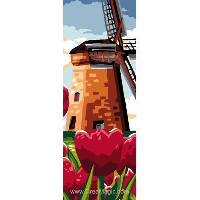 Les tulipes du moulin canevas de Luc Création