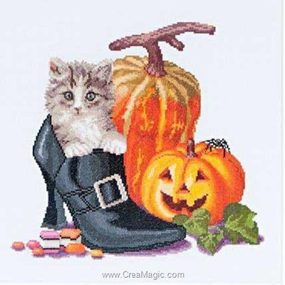 Chaton d'haloween sur aida kit point de croix - Thea Gouverneur