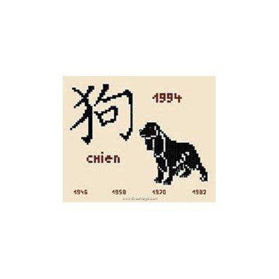 Signes chinois le chien modèle au point de croix - Aux 4 Points Du Monde