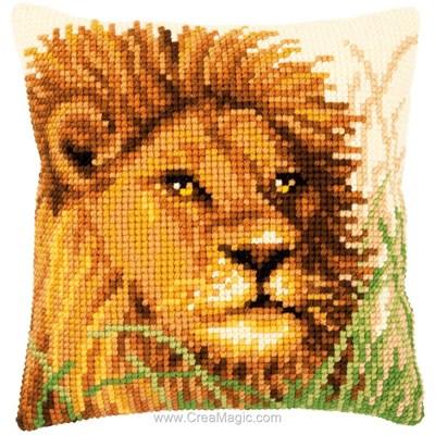 Kit coussin au point de croix Vervaco le lion, roi des animaux