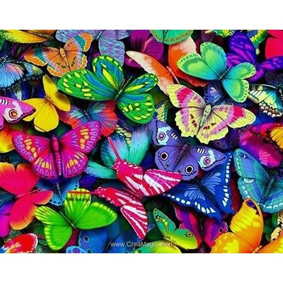 Kit broderie diamant rainbow butterflies de Wizardi