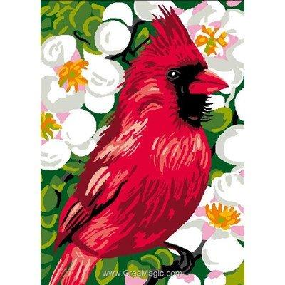 Luc Création canevas oiseau cardinal rouge
