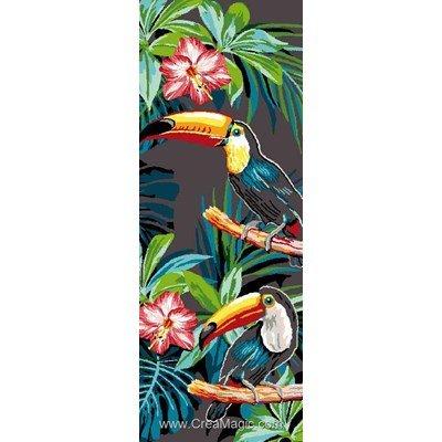 Mimo Verde canevas toucans et fleurs